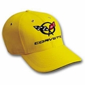 Corvette Yellow Hat - Black Corvette / C5 Emblem