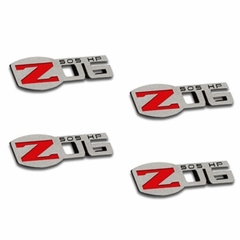 Corvette Z06 505HP Badges - Polished - Stainless Steel - 4 Pc. : 2006 -2013 C6 Z06