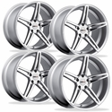 Cray Corvette Wheels (Set) - Brickyard Multipiece Silver w/ Machined Face Chrome Stainless Cut Lip