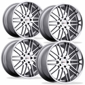 Cray Corvette Wheels (Set) - Hawk Silver w/ Machined Face Chrome Stainless Cut Lip