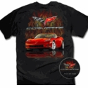 Flaming Black Corvette T-Shirt - Men's