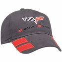 Grey Corvette Grand Sport Hat Twill with C6 Flags and Grand Sport Emblem