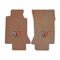 Lloyds Corvette Floor Mats Velourtex - Light Oak w/ Black C5 Emblem (97-04 C5 / C5 Z06)