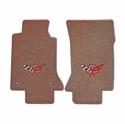 Lloyds Corvette Floor Mats Velourtex - Light Oak w/ Red C5 Emblem (97-04 C5 / C5 Z06)