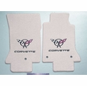 Lloyds Corvette Floor Mats Velourtex - Shale w/ Red C5 Emblem (97-04 C5 / C5 Z06)