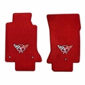 Lloyds Corvette Floor Mats Velourtex - Torch Red w/ Silver C5 Emblem (97-04 C5 / C5 Z06)