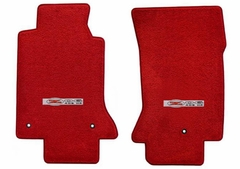 Lloyds Corvette Floor Mats Velourtex - Torch Red w/ Z06 405HP Emblem (97-04 C5 / C5 Z06)