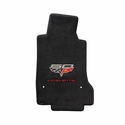 Lloyds Ultimat Floor Mats - 60th Anniversary above Flags w/Red Corvette Script : 2007.5-2013 C6, Z06, Grand Sport & ZR1- Ebony - Set of 2