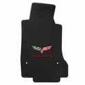 Lloyds Ultimat Floor Mats - 60th Anniversary in Cross Flags with Red Corvette Script : 2007.5-2013 C6, Z06, Grand Sport & ZR1- Ebony - Set of 2