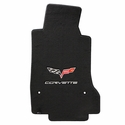 Lloyds Ultimat Floor Mats - 60th Anniversary in Cross Flags with Silver Corvette Script : 2007.5-2013 C6, Z06, Grand Sport & ZR1- Ebony - Set of 2