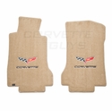 Lloyds Ultimat Floor Mats - Cashmere w/ C6 Logo and Corvette Script : 05-07 C6 (Post Style Anchor)