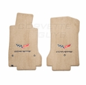 Lloyds Ultimat Floor Mats - Cashmere w/ C6 Logo and Corvette Script: 07.5 - 13 C6 (Hook Anchor)
