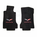 Lloyds Ultimat Floor Mats - Ebony w/ Red Lettering: 05-07 C6 (Post Style Anchor)