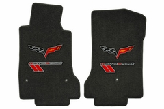Lloyds Ultimat Floor Mats - Ebony w/ Red Stripes and C6 Logo: 10-13 Grand Sport (Hook Style Anchor)