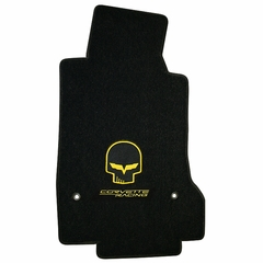 Lloyds Ultimat Floor Mats - Jake Corvette Racing w/ Script - Yellow or Silver: 2007.5-2013 (Hook Anchor)