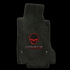 Lloyds Ultimat Floor Mats - Red Jake Skull w/ Corvette / Corvette Racing Script