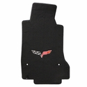 Lloyds Velourtex Floor Mats - 60th Anniversary in Cross Flags : 2007.5-2013 C6, Z06, Grand Sport & ZR1- Ebony - Set of 2