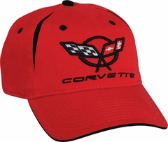 Red C5 Corvette Pleated Cap