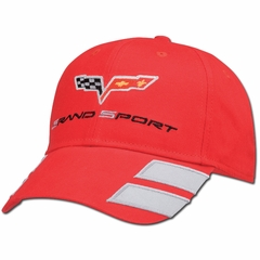 Red Corvette Grand Sport Hat Twill with C6 Flags and Grand Sport Emblem