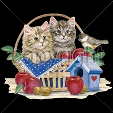 Wholesale T Shirts - Funny Fashion - 10237-10x13-apple-basket-kittens
