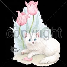 Wholesale T Shirts - Funny Fashion - 10447-10x13-white-cat-two-tulips