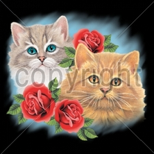 Wholesale T Shirts - Funny Fashion - 10892-9x10-two-cats-three-roses-adult