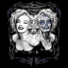 Clothing T Shirts Funny Cheap Prices Wholesale Suppliers USA Made -11x14-marilyn-two-face-zombie