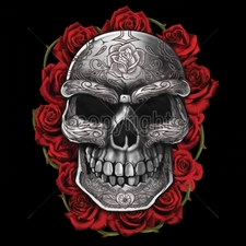 Wholesale T-Shirts Bulk Funny Cool Cheap - 11x14-ornate-skull-roses
