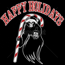 Wholesale T-Shirts Bulk Funny Cool Cheap - 12x12-happy-holidays-reaper-candy-cane