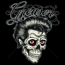 Wholesale T-Shirts Bulk Funny Cool Cheap T-Shirts - 12x14-greaser-skull