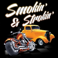 Apparel Clothing Wholesale Funny Cool Cheap T-Shirts - 12x14-smokin-strokin-chopper-hot-rod