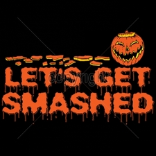 Wholesale T-Shirts Bulk Halloween Funny Cool Cheap - 12x7-lets-get-smashed-jack-olantern