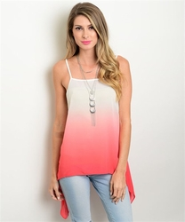 Tie Dye T-Shirts, Wholesale Tie Clothing - 131-2-5-T3026 IVORY CORAL TOP 3-2-1
