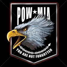 POW MIA Wholesale Custom Printed Military T Shirts - 13174-3x4-pocket-pow-mia-eagle-pocket-design