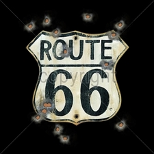 Wholesale Biker T-Shirts, Custom T-Shirts - 13663-12x14-route-66-sign-bullet-holes