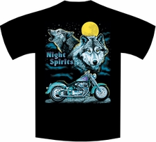 Wholesale Biker Wolf Wildlife T-Shirts - 1383_black t