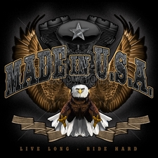 Biker T-Shirts Wholesale Bulk Custom Motorcycle - 16164-13x12-made-usa-live-long-ride-hard-eagle-engine
