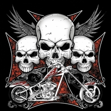 Biker T-Shirts Wholesale Bulk Custom Motorcycle 3 Skulls