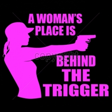 Wholesale Custom Printed Gun T Shirts - 16291-12x9-womans-place-behind-trigger-neon-pink