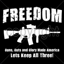 Wholesale Custom Printed Gun T Shirts - freedom-guns-guts-and-glory - Gun T Shirts - 16311-13x11