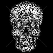 Clothing T Shirts Funny Cheap Prices Wholesale Suppliers USA Made -9x14-sugar-skull-black-white