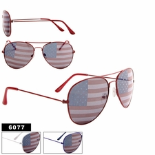 American Flag Aviators Wholesale - Style #6077 (Assorted Colors) (12 p