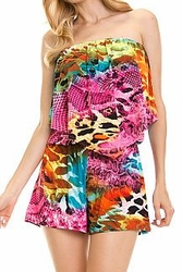 Jumpsuits & Rompers For Women Cheap Online Sale - Strapless Printed Ruffle Romper
