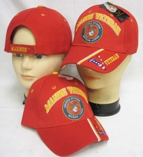 Military Hats Caps - CAP590BR Marine Vet Emblem V on Bill Cap Red
