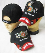 Military Caps Wholesale - CAP600EB Marine Logo Marine Bill Cap Bk