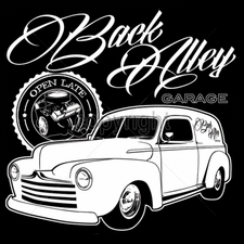 Wholesale Funny Cool Cheap T-Shirts - car 13x12-back-alley-garage-open-late-panel-truck