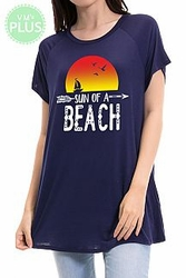Plus Size Clearance Womens Clothing - Sun Of A Beach Print Tunic Top PLUS