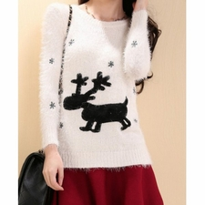 Wholesale Clothing - Deer Embroidery Sweet Round Neck Long Sleeve Womens Sweater 31.69