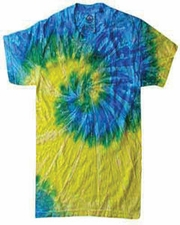 Wholesale Tie Dye T Shirts Suppliers - SPIRAL BLUE & YELLOW