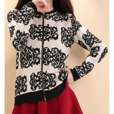 Wholesale Clothing - Floral Embroidery Fashionable Round Neck Long Sleeve Womens Cardigan